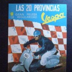 Coches y Motocicletas: PRECIOSA Y ESCASA POSTAL - LAS 20 PROVINCIAS - II GRAN PRUEBA DE REGULARIDAD VESPA -1959 -IMPECABLE. Lote 41236190
