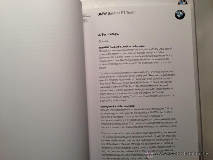 Coches y Motocicletas: DOSSIER DE PRENSA BMW SAUBER F-1 TEAM TEMPORADA 2006 - TEXTO EN INGLÉS - Foto 3 - 41500588