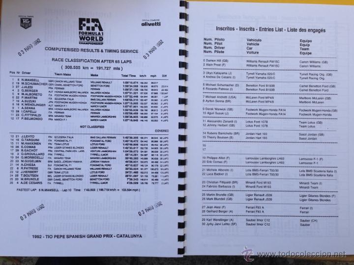 Coches y Motocicletas: DOSSIER DE PRENSA 37 GRAN PREMIO DE ESPAÑA CATALUÑA DE FORMULA 1 - 1993 - TEXTO CAT, ES, IN, FR - Foto 7 - 121454556