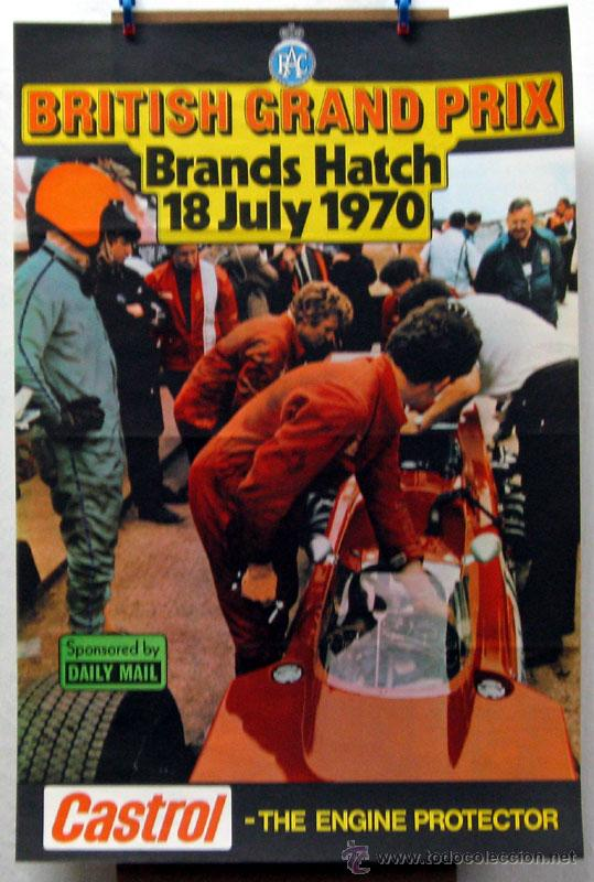 Coches y Motocicletas: CARTEL POSTER ORIGINAL BRITISH GRAND PRIX BRANDS HATCH 1970 - Foto 1 - 42217394