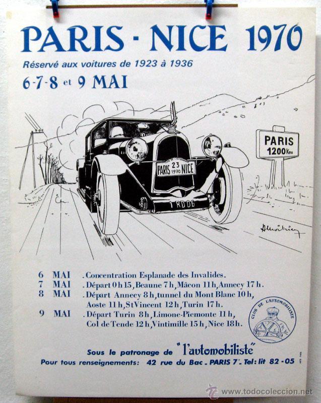 CARTEL POSTER ORIGINAL PARIS - NICE 1970 (Coches y Motocicletas Antiguas y Clásicas - Catálogos, Publicidad y Libros de mecánica)