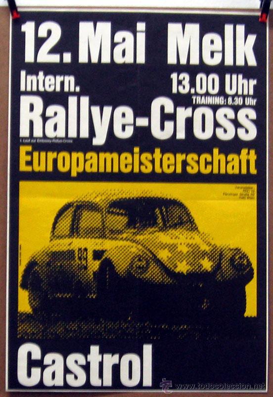 CARTEL POSTER ORIGINAL RALLYE CROSS EUROPAMEISTERSCHAFT (Coches y Motocicletas Antiguas y Clásicas - Catálogos, Publicidad y Libros de mecánica)
