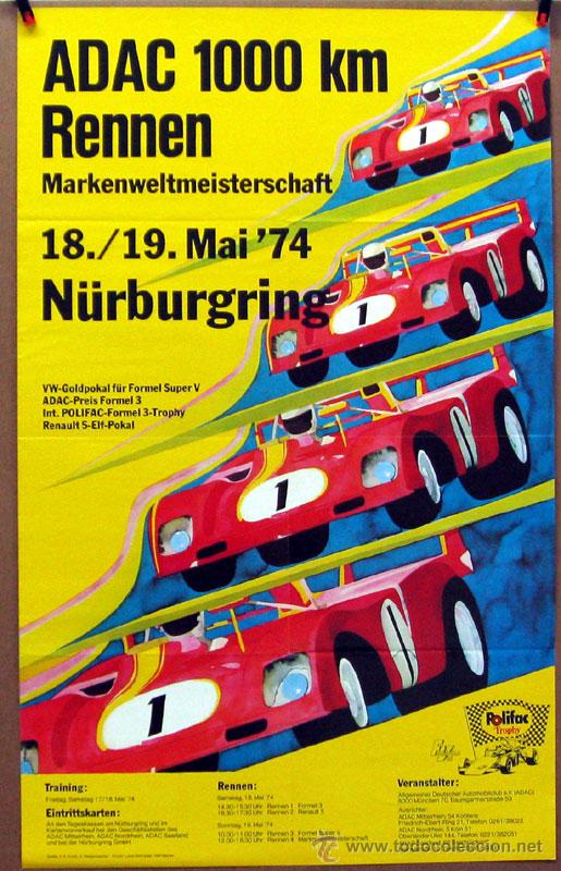 CARTEL POSTER ORIGINAL ADAC 1000 KM RENNEN NURBURGRING 1974 (Coches y Motocicletas Antiguas y Clásicas - Catálogos, Publicidad y Libros de mecánica)