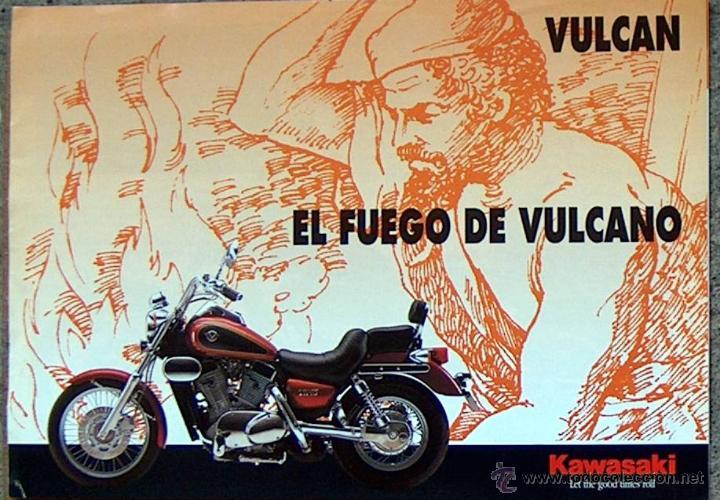 CATALOGO KAWASAKI VULCAN 500/800/1500, EL FUEGO DE VULCANO, 21 X 30 CM (DESPLEGADO 21 X 60 CM) (Coches y Motocicletas Antiguas y Clásicas - Catálogos, Publicidad y Libros de mecánica)