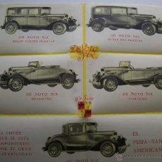 Coches y Motocicletas: CIRCA 1929 DE SOTO SIX DE CHRYSLER EN FERNANDO DE VIZCAYA 45 CM X 45 CM DESPLEGABLE. Lote 42682213