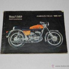 Carros e motociclos: CATALOGO BULTACO MERCURIO 155 GT , INSTRUCCIONES , 1975 , LE FALTA UNA PARTE DE HOJA DEL DESPLEGABLE. Lote 42741339