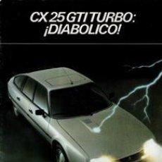 Coches y Motocicletas: FOLLETO CX GTI TURBO: ¡DIABÓLICO!. Lote 42749815