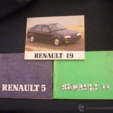 Coches y Motocicletas: MANUALES DE USUARIO: RENAULT 5, RENAULT 11 Y RENAULT 19 - . Lote 43529290