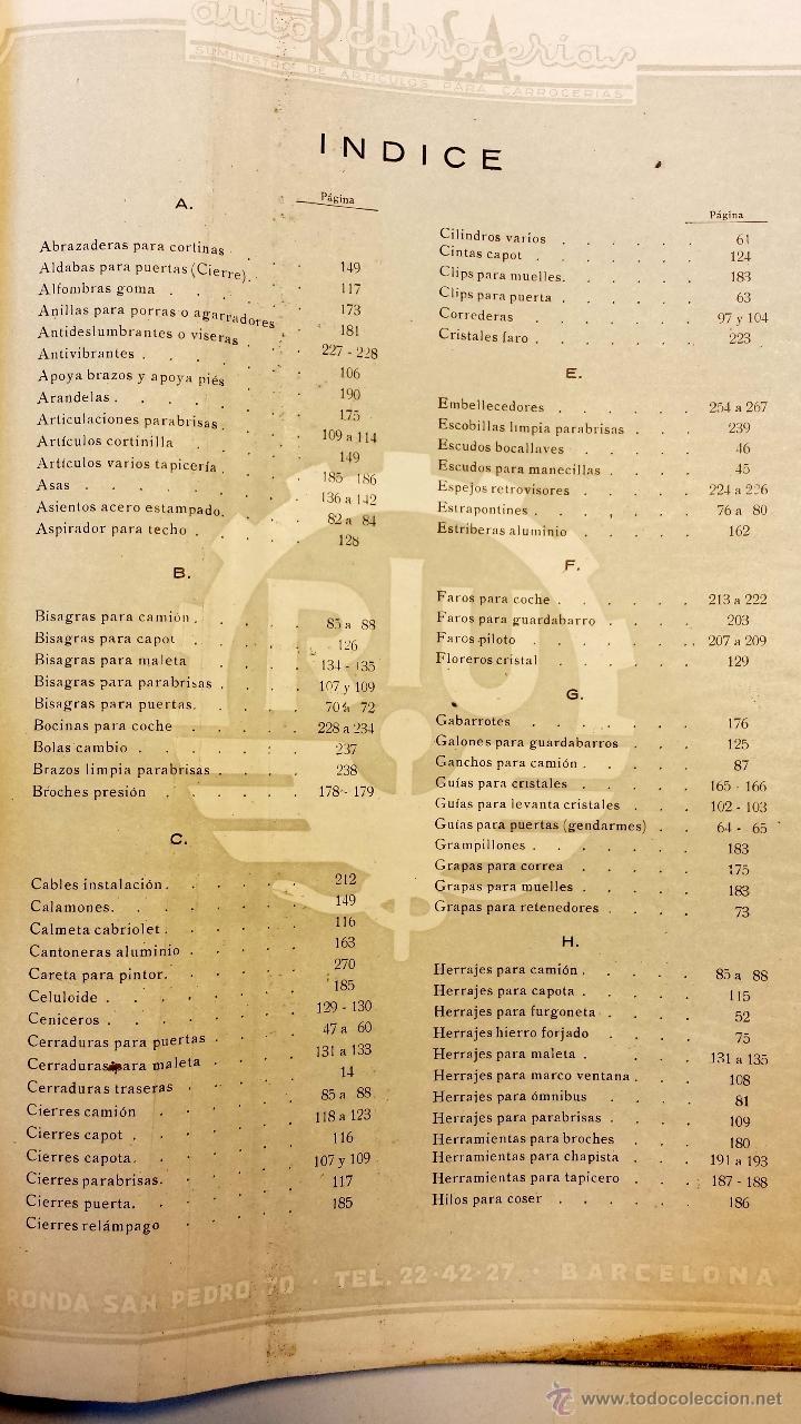 Coches y Motocicletas: GRAN CATALOGO GENERAL AUTO CARROCERIAS RIU S.A. 274 PAGINAS CON MILES DE ARTICULOS, MEDIADOS S.XX. - Foto 5 - 43620766