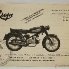 Coches y Motocicletas: FOLLETO PUBLICITARIO MOTO RIEJU. MODELO JACA 125 - MEDIDAS 17,5 X 13 CM. Lote 43642179