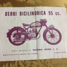 Coches y Motocicletas: ANTIGUO FOLLETO CON CARACTERISTICAS TECNICAS DERBI BICILINDRICA 95CC. MIDE 16X12CM APROX. ORIGINAL.. Lote 43995407