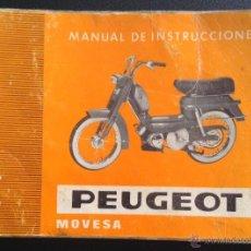 Coches y Motocicletas: CATALOGO MANUAL DE INSTRUCCIONES PEUGEOT MOVESA ORIGINAL. Lote 183361302