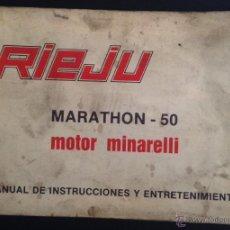 Coches y Motocicletas: CATALOGO MANUAL DE INSTRUCCIONES Y MANTENIMIENTO RIEJU MARATHON 50. Lote 44281484