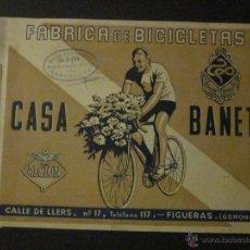 Coches y Motocicletas: CATALOGO DE BICICLETAS CASA BANET - RENOLT -ALCION - FIGUERAS - GERONA- AÑOS 40 . Lote 44378501