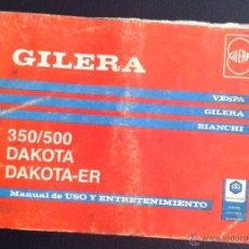 Coches y Motocicletas: MANUAL DE USO Y ENTRETENIMIENTO ORIGINAL GILERA 350/500 DAKOTA -ER . Lote 44453414