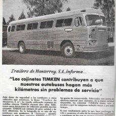 Coches y Motocicletas: ANUNCIO * COJINETES TIMKEN PARA TRAILERS DE MONTERREY * AÑO 1960. Lote 44694132