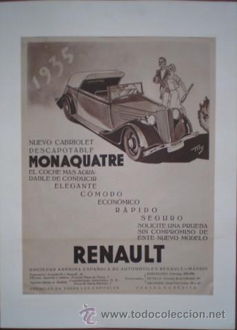 PUBLICIDAD DE AUTOMOVILES RENAULT. NUEVO CABRIOLET DESCAPOTABLE MONAQUATRE. (Coches y Motocicletas Antiguas y Clásicas - Catálogos, Publicidad y Libros de mecánica)