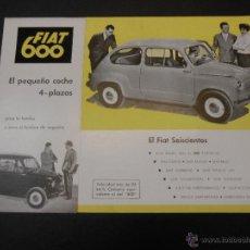 Coches y Motocicletas: FIAT 600 - HOJA PUBLICITARIA - EN CASTELLANO. Lote 45158592