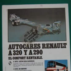 Coches y Motocicletas: PUBLICIDAD DICIEMBRE 1989 - AUTOCARES RENAULT A320 Y A290. Lote 45332632