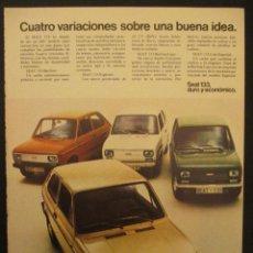 Coches y Motocicletas: PUBLICIDAD DE SEAT 133 , AÑOS 70. Lote 45441503