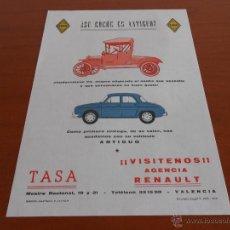 Coches y Motocicletas: RENAULT - ANTIGUA PAGINA PUBLICITARIA TASA CONCESIONARIO EN VALENCIA. Lote 123410850