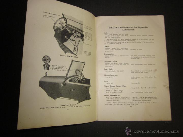 Coches y Motocicletas: HUDSON SUPER SIX - LIBRO INSTRUCCIONES - (V-1301) - Foto 5 - 45862533