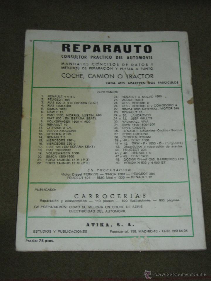 Coches y Motocicletas: LIBRO CATALOGO REPARAUTO - RENAULT 4 1968 - Foto 2 - 46109495