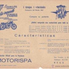 Coches y Motocicletas: FOLLETO 1967 MOTO MV EMEUVE AUGUSTA CARACTERISTICAS 4 TIEMPOS 4 VELOCIDADES MOTORISPA REUS. Lote 46536232