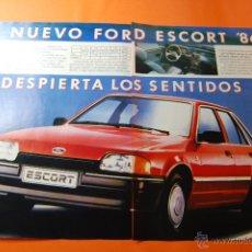 Coches y Motocicletas: PUBLICIDAD 1986 - COLECCION COCHES - NUEVO FORD ESCORT DEL 86 DOBLE PAGINA CORTADA. Lote 46561593