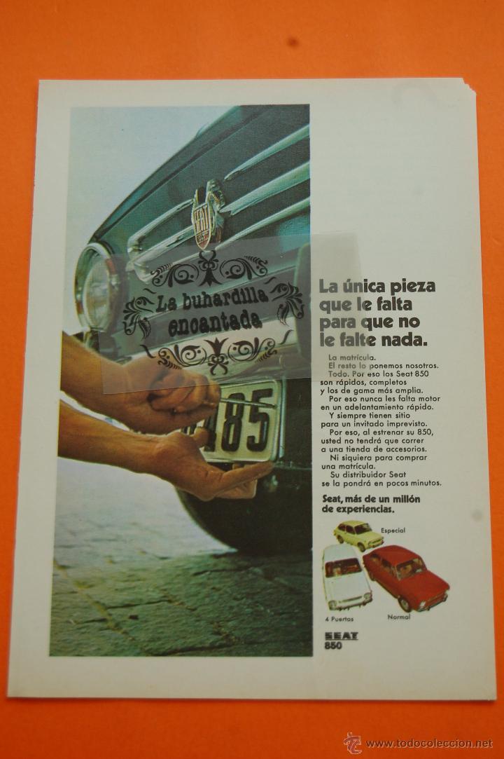 PUBLICIDAD 1970 - COLECCION COCHES - SEAT - 850 (Coches y Motocicletas Antiguas y Clásicas - Catálogos, Publicidad y Libros de mecánica)