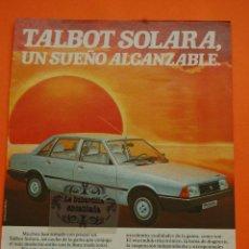 Coches y Motocicletas: PUBLICIDAD 1982 - COLECCION COCHES - TALBOT - SOLARA. Lote 46601305
