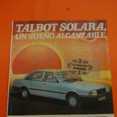 Coches y Motocicletas: PUBLICIDAD 1982 - COLECCION COCHES - TALBOT - SOLARA . Lote 46603442