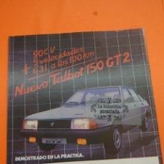 Coches y Motocicletas: PUBLICIDAD 1982 - COLECCION COCHES - TALBOT - 150 GT2 LETRAS ROJAS. Lote 46603463