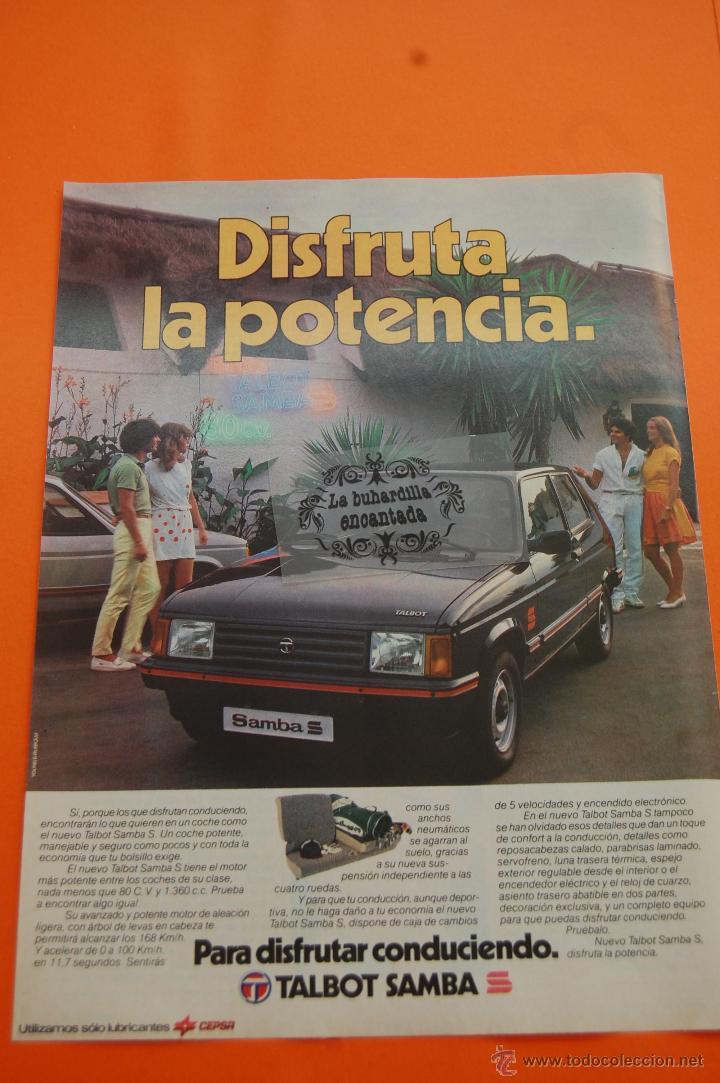 PUBLICIDAD 1982 - COLECCION COCHES - TALBOT - SAMBA SPORT (Coches y Motocicletas Antiguas y Clásicas - Catálogos, Publicidad y Libros de mecánica)