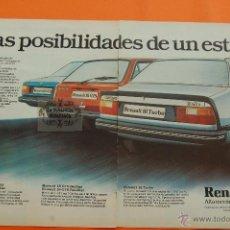 Coches y Motocicletas: PUBLICIDAD 1982 - COLECCION COCHES - RENAULT - 18 GTS GTD Y TURBO DOBLE PAGINA. Lote 46603667