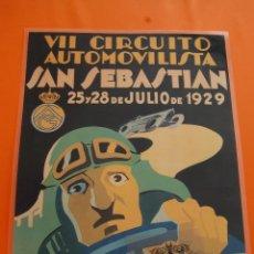 Coches y Motocicletas: CARTEL - REPRODUCCIÓN DE CARTEL SAN SEBASTIAN 1929 - TAMAÑO APROX. 27 CM X 40 CM - PLASTIFICADO . Lote 46604233