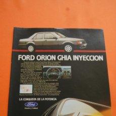 Coches y Motocicletas: PUBLICIDAD 1986 - COLECCION COCHES - FORD - ORION GHIA INYECCION . Lote 115319956