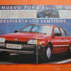 Coches y Motocicletas: PUBLICIDAD 1986 - COLECCION COCHES - FORD - NUEVO ESCORT 86 DOBLE PAGINA. Lote 46718660