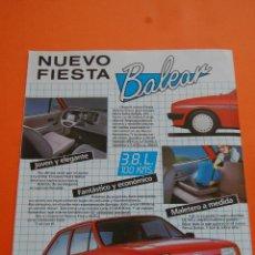 Coches y Motocicletas: PUBLICIDAD 1985 - COLECCION COCHES - FORD - FIESTA BALEAR. Lote 46718708