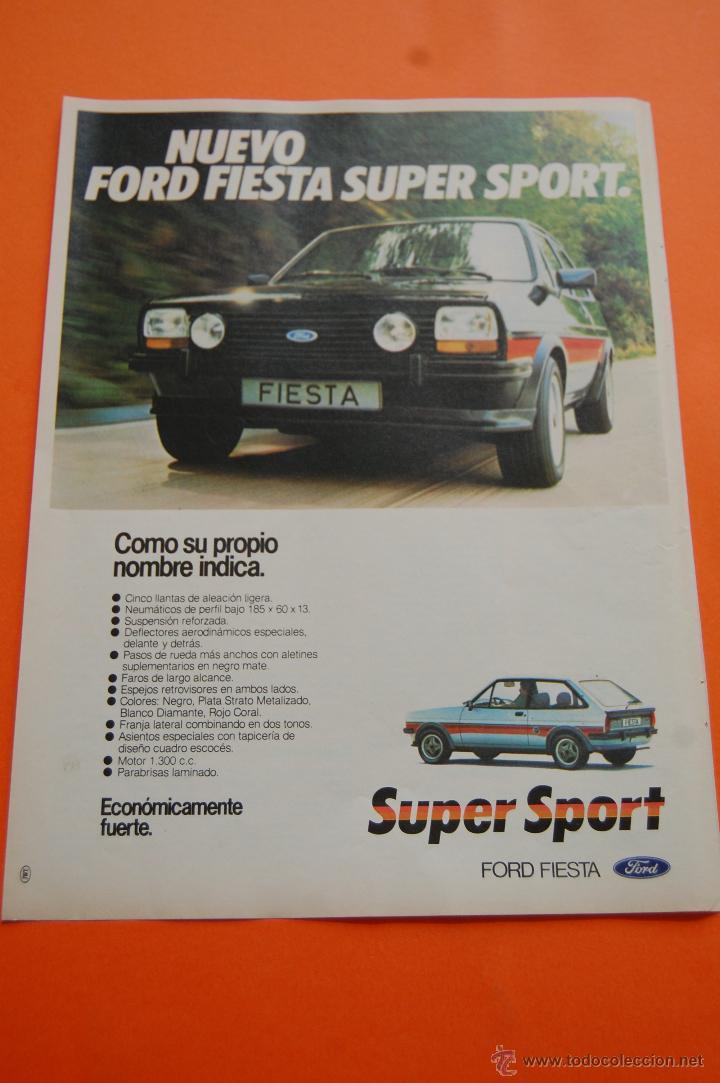 PUBLICIDAD 1980 - COLECCION COCHES - FORD - FIESTA SUPER SPORT (Coches y Motocicletas Antiguas y Clásicas - Catálogos, Publicidad y Libros de mecánica)