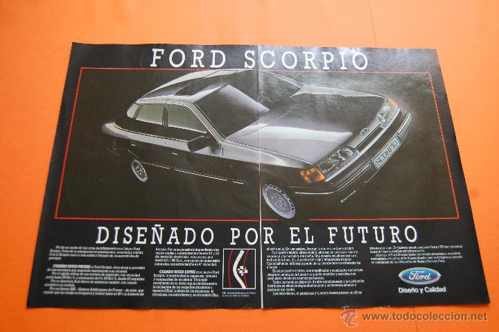 PUBLICIDAD 1985 - COLECCION COCHES - FORD - SCORPIO DOBLE PAGINA (Coches y Motocicletas Antiguas y Clásicas - Catálogos, Publicidad y Libros de mecánica)