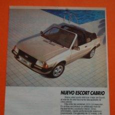 Coches y Motocicletas: PUBLICIDAD 1983 - COLECCION COCHES - FORD - ESCORT CABRIO. Lote 46718873