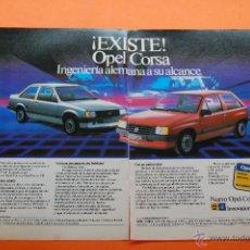 Coches y Motocicletas: PUBLICIDAD 1982 - COLECCION COCHES - OPEL - CORSA DOBLE PAGINA. Lote 46776262