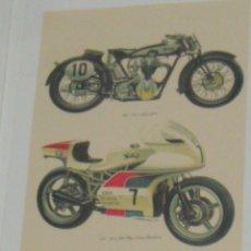 Coches y Motocicletas: CARTEL MOTOCICLETA DE COMPETICION NORTON 500 CC Y 750 CC DE 1927 Y 1974. Lote 46797395