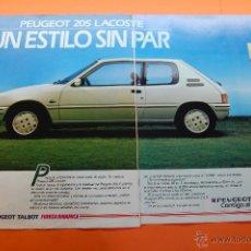 Coches y Motocicletas: PUBLICIDAD 1987 - COLECCION COCHES - PEUGEOT TALBOT - 205 LACOSTE DOBLE PAGINA. Lote 46839337