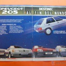 Coches y Motocicletas: PUBLICIDAD 1986 - COLECCION COCHES - PEUGEOT TALBOT - 205 GAMA DOBLE PAGINA. Lote 46839341