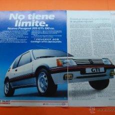 Coches y Motocicletas: PUBLICIDAD 1987 - COLECCION COCHES - PEUGEOT TALBOT - 205 GTI 130 CV DOBLE PAGINA. Lote 46839372