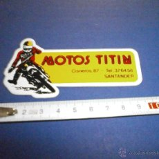 Coches y Motocicletas: PEGATINA MOTOS TITIN SANTANDER. Lote 46925561