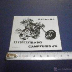 Coches y Motocicletas: PEGATINA 11 CONCENTRACION CAMPTURIS 92 MIRANDA. Lote 46926186