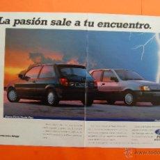 Coches y Motocicletas: PUBLICIDAD 1991 - COLECCION COCHES - FORD - PIESTA PACHA PLUS DOBLE PAGINA OFICIAL EXPO 92 SEVILLA. Lote 46946238